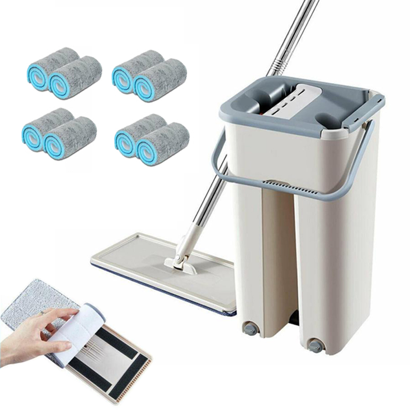 Dreamburgh Flat Squeeze Mop and Bucket Hand-Free Wringing Floor Cleaning Mop Wet or Dry Usage Magic Automatic Cleaning Lazy Mop