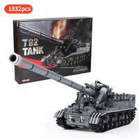 Creative Military Tank T92 Tank Track Army Soldier Figures Weapon Guns Building Blocks Toys For Children Gifts