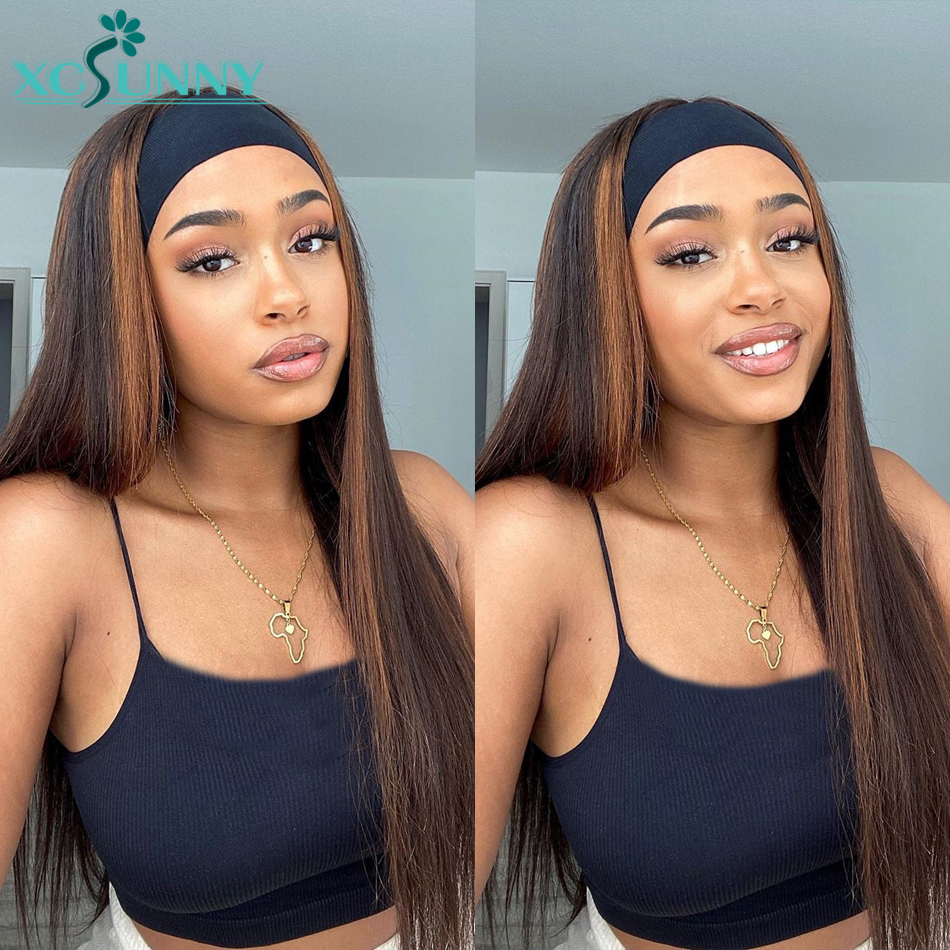 Straight Headband Wig Human Hair Highlight #4 180Density Remy Brazilian Full Machine Made Wig For Women No Gel No Glue xcsunny