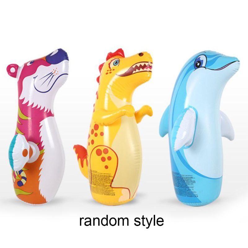Inflatable Thickened Punching Boxing Bag For Kids Fitness Puzzle Animal Pattern 95AE