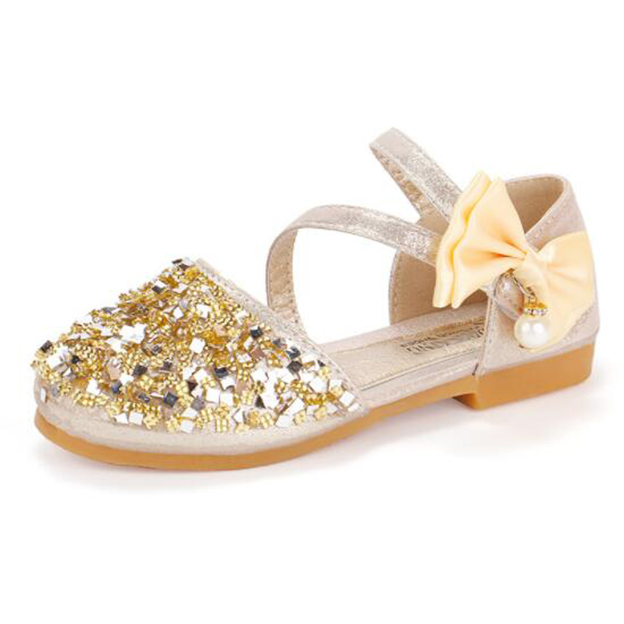 2020 New Girls Princess Sandals Wedding Shoes For Girl Fashion Toddler Baby Shoes Children Casual Sandals Sequin Bow Flat Shoes