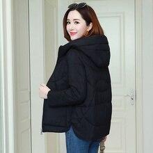 Abrigos cálidos con capucha para mujer, chaquetas informales para mujer, abrigo grueso de algodón con dos bolsillos, P241