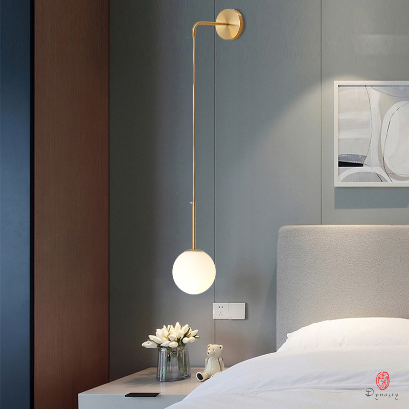 Simple Glass Ball Wall Hanging Lights Modern Copper Globe Hanging Lamp Personality Wall Lights Home Bedside LED Hanging Fixture
