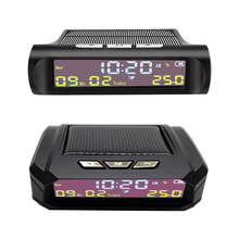 AN01 AN02 TPMS Look Solar Car zegar cyfrowy z datą czasu LCD wyświetlacz temperatury w samochodzie akcesoria do wnętrz samochodowych