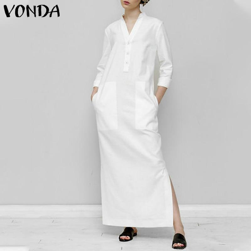 Weiße Lange Kleid frauen Sommerkleid Elegante Stehkragen Langarm Party Kleid Side Split Urlaub Taste Up Plus Größe vestido