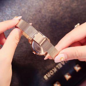 Image 5 - Femmes or Rose Bracelet en acier montre dames argent maille bande Quartz montres fille mode décontracté Simple horloge adolescent heure nouveau
