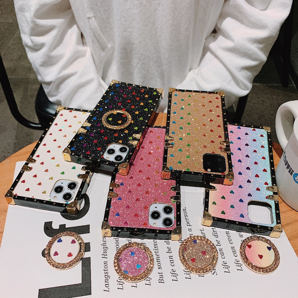 Cases For iPhone 11 Pro Max Xr Xs Max Coque Square Diamond Stand Love Heart Bling Sequins Case For iPhone X 6 6S 7 8 Plus Cover (1)