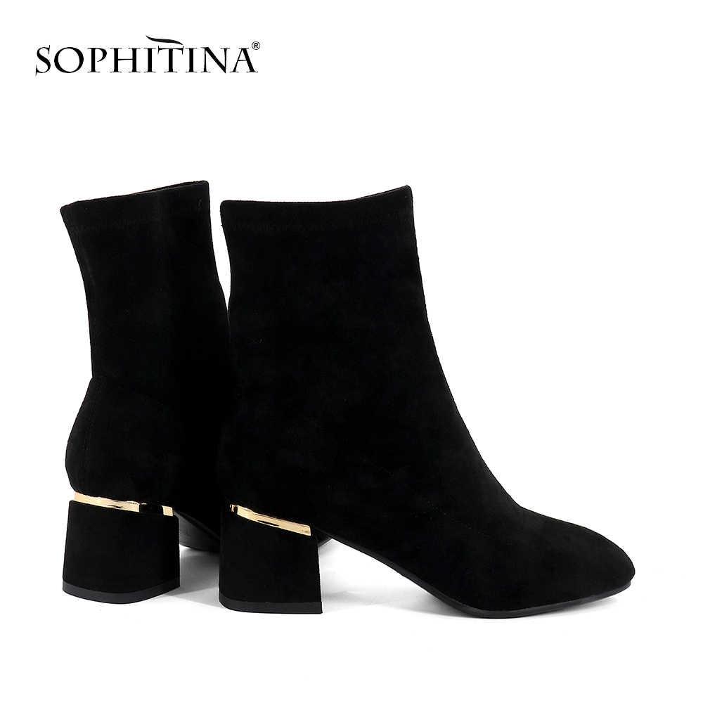 SOPHITINA אופנה גבירותיי מגפיים מקרית נעליים עקב כיכר העגול מוצק בעבודת יד 5.5 cm חדש מחוץ גבוהה העקב נשים מגפיים SO234