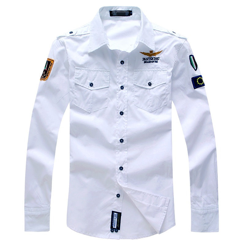 New 2020 Spring Men's Boutique Military Uniform Style Leisure Long-sleeved Shirt/Mens Lapel Slim Fit Leisure Full-sleeved Shirt