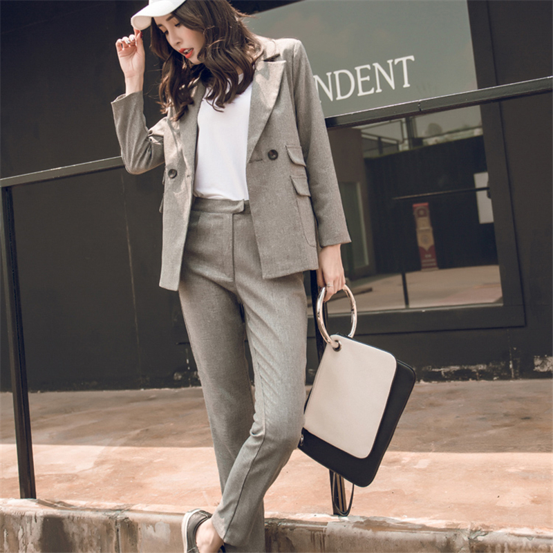 2019 Women Suit Gray Casual Blazer & High Waist Pant Office Lady Notched Jacket Pant Suits Korean Femme 2 Pieces Set