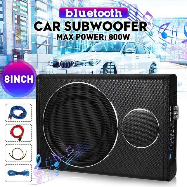 "800W 8"" bluetooth Car Amplifier Subwoofer Car Audio Slim Under Seat Active Subwoofer Bass Speaker Auto Woofer Music Player 1"