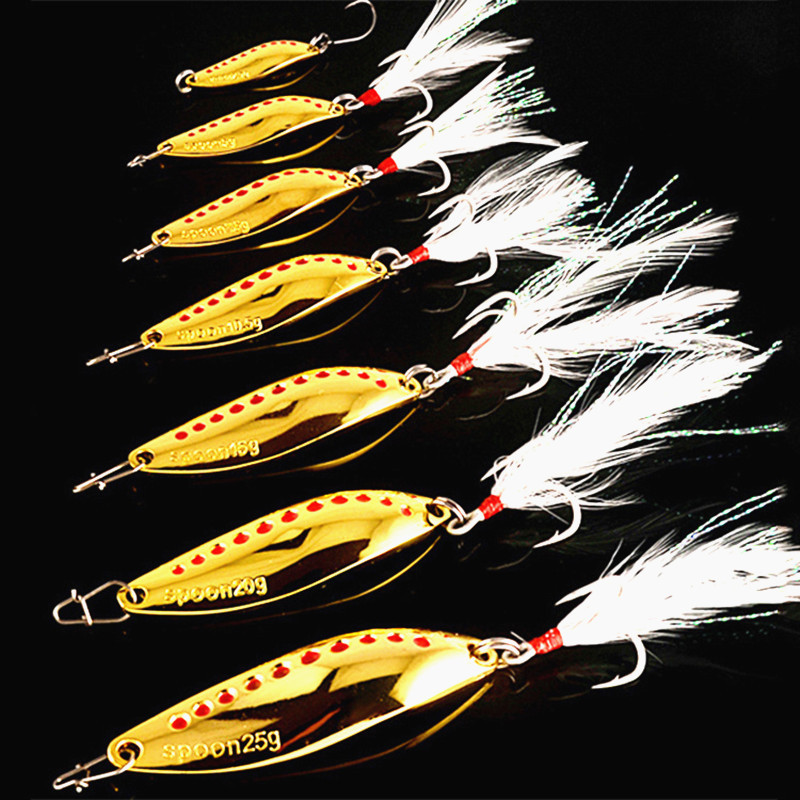 1PC 7.5g /10g  Spoon Spinner Metal Leech Fishing Lure Hard Baits Sequins Noise With Feather Treble Hook Fishing Tackle