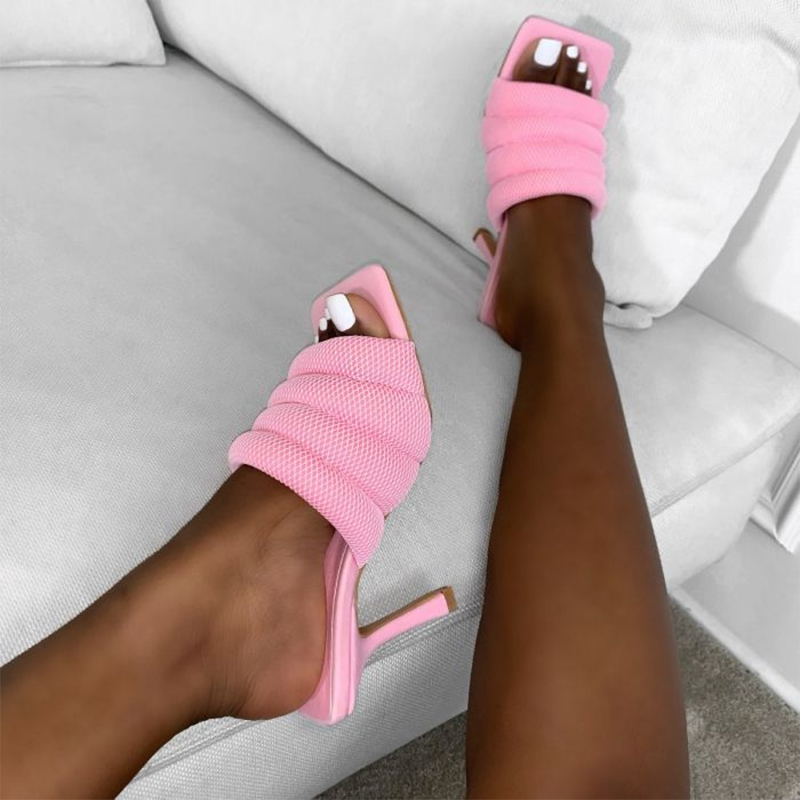 Women Fashion Mule Stiletto Heels Slippers Ladies Square Toe Solid Summer Leisure Shoes Female Rubber Sole Elegant Chaussure