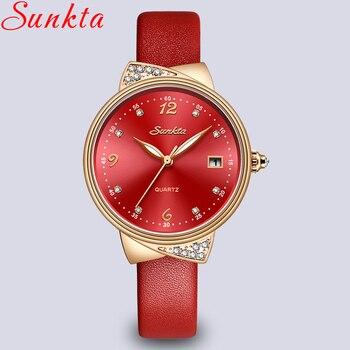 2019 SUNKTA Watch Women Fashion Simple Quartz Watches Ladies Thin Leather Casual Female Wrist Watch Girl Clock Relogio Feminino