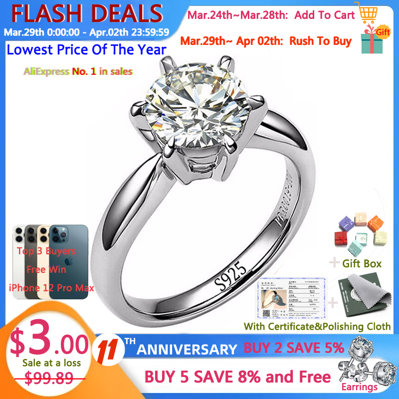 YANHUI With Certificate Real Natural Solid 925 Sterling Silver Rings Luxury 1 Carat Lab Diamond Wedding Rings for Women R9256