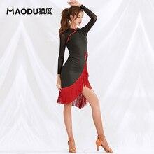 Платье с длинными рукавами и кисточками, современное платье для латинских танцев, цельное платье для женских бальных костюмов, одежда для выступлений MD9139
