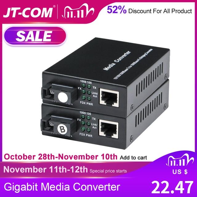 1 par gigabit fibra óptica conversor de mídia 1000mbps único modo simples sc porto fibra optica rj45 transceptor óptico 3/20km