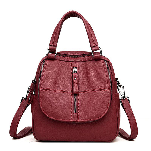 Backpack Women Backpack Mini Travel Bag Fashion Multi-Functional Women'S Large Capacity Backpack PU Leather Totes Purses 6