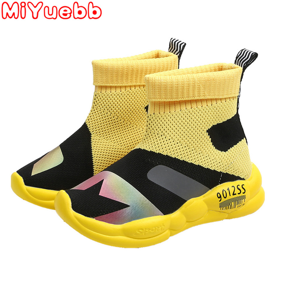 Children Shoes Boys Spring And Autumn Children Flying Sneakers Girls High Top Socks Sneakers Kids Breathable Soft Running Shoes