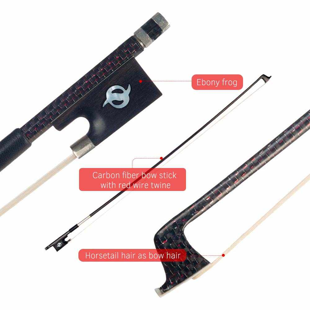 Carbon Fiber Violin Bow with 4/4 Red Wire Twine Copper Mounted Ebony Frog Mongolia Horse Hair for 4/4 Full Size Violin