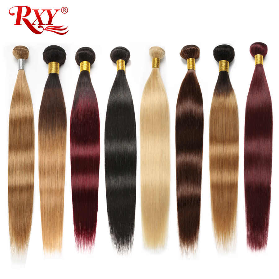 Straight Hair Bundles RXY Brazilian Hair Sale Ombre Bundles #1B/#2/#4/#27/99J/613 Bundles Human Hair Weave Bundles Remy Hair