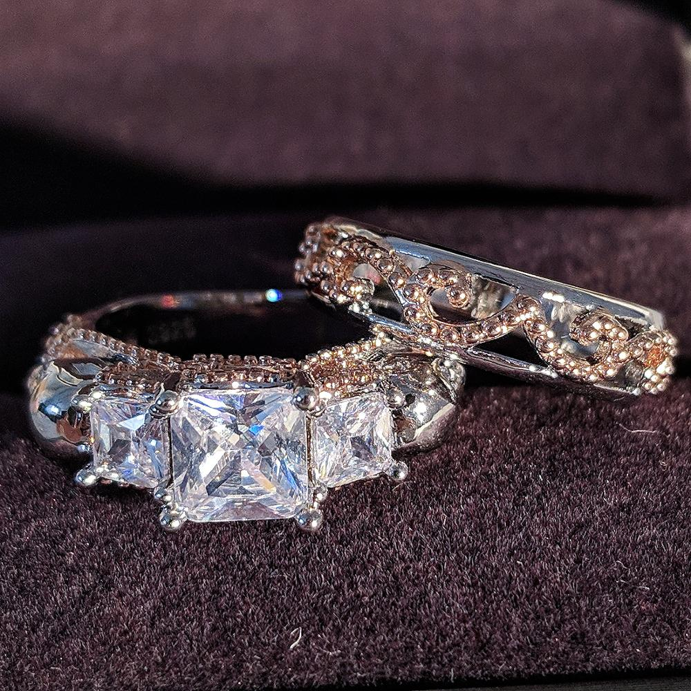Luxury Rose Gold Silver 925 Sterling Silver Wedding Ring Set