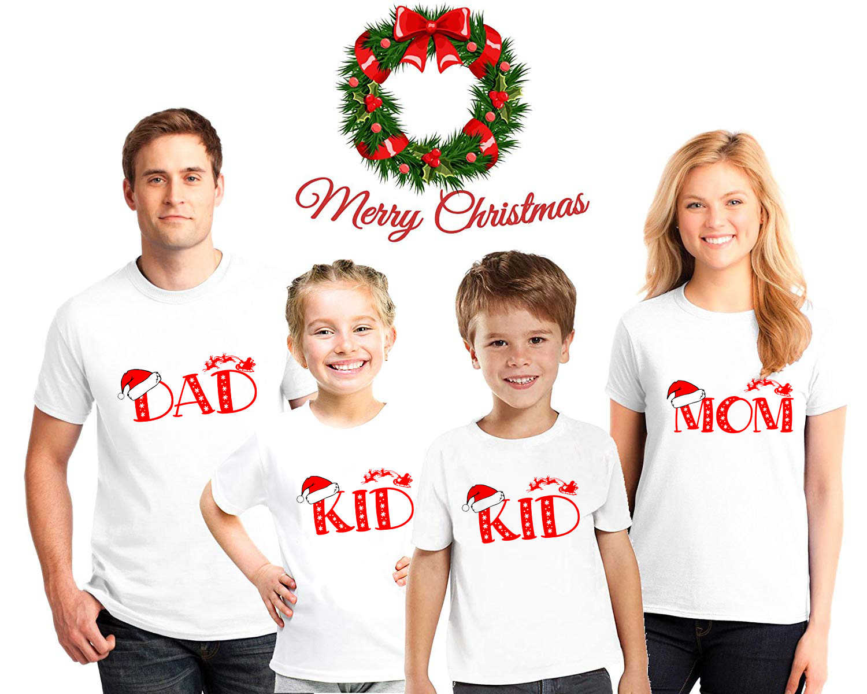 คริสต์มาสครอบครัวเสื้อพ่อแม่ลูกสาว T เสื้อสำหรับครอบครัวพ่อแม่คริสต์มาสครอบครัวดู