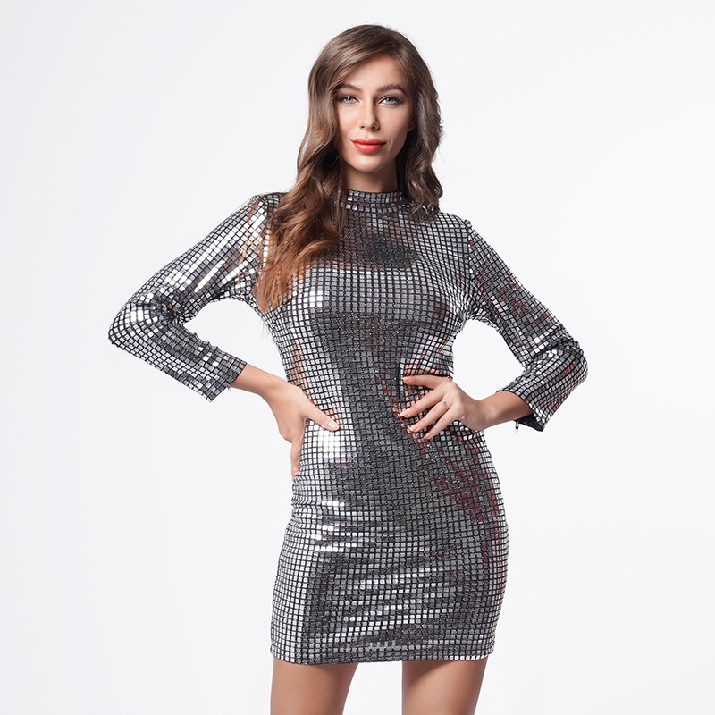 Robe Square Pattern Geometric Vintage Black Silver Sequin Dress Stunning Long Sleeve Mini Fitted Lady Cocktail Party Dress