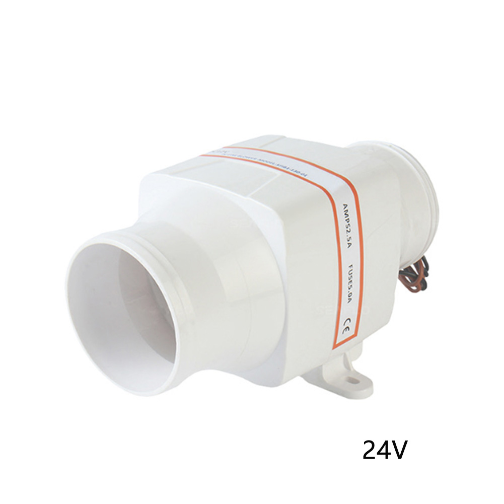 3 Inch Boat Water Resistant Accessories Marine Bilge High Strength Electric Caravan Low Power White Easy Install Air Blower Fan