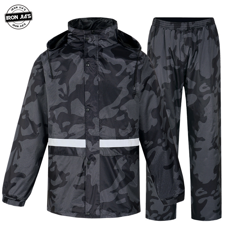 IRON JIA S Motorcycle Raincoat Suit Waterproof Motocross Men Motobike Riding Jacket Rain Coat   Pants