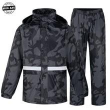 IRON JIA'S Motorcycle Raincoat Suit Waterproof Motocross Men Motobike Riding Jacket Rain Coat + Pants