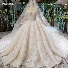HTL475 vestidos de novia de lujo, con velo de boda, cuello alto, mangas largas de tul, botones, con tren