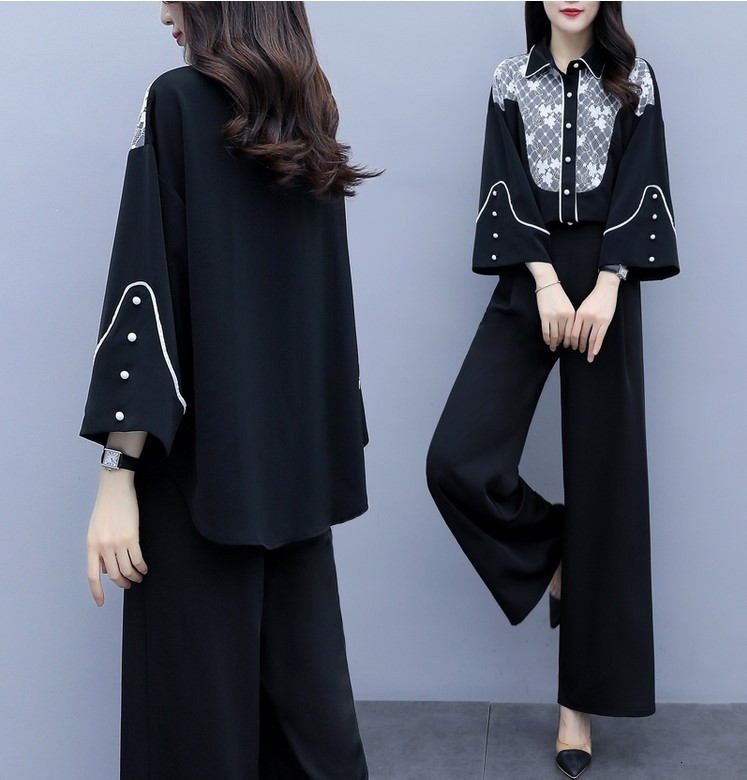 2020 Spring Summer Women Chiffon Floral Flare Sleeve Shirt Wide Leg Pants Sets Lady Two Pieces Trouser Suits High Quality Outfit