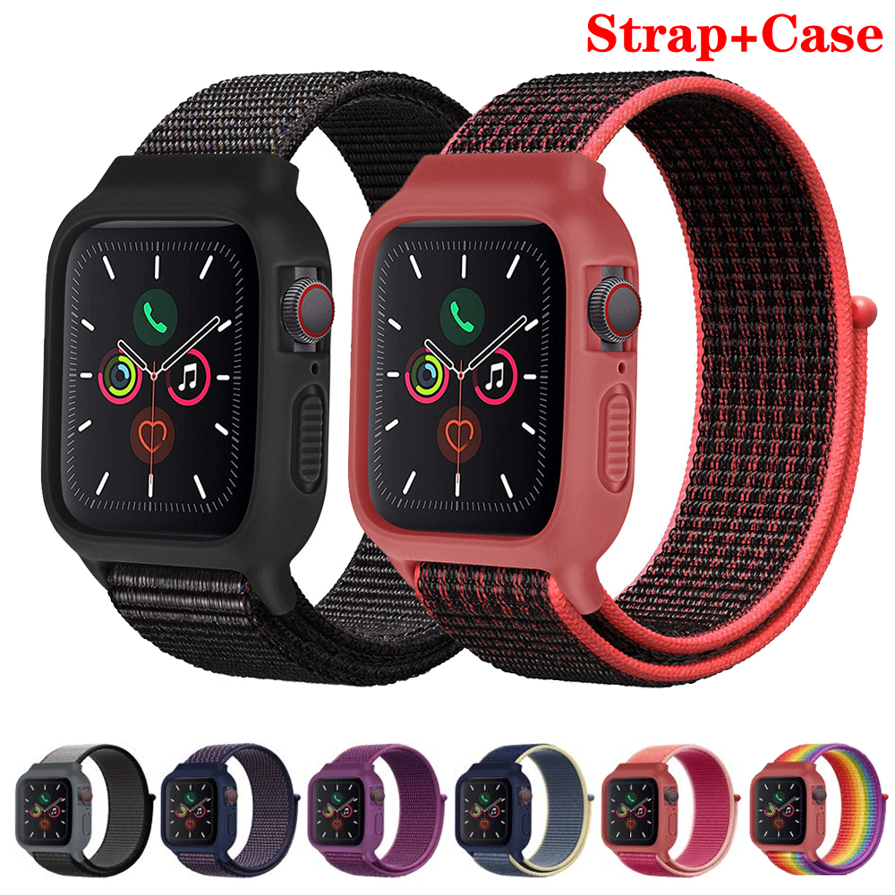 Case+strap for Apple watch band 44mm 40mm accessories Nylon Sport Loop bracelet watchband applewatch iWatch band 42mm 38 mm 3 4