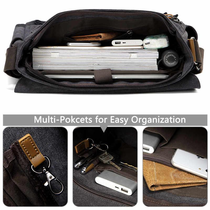 Vaschy Messenger Bag Voor Mannen Vintage Waterbestendig Gewaxt Canvas 15.6 Inch Laptop Aktetas Gewatteerde Schoudertas Voor Mannen Vrouwen
