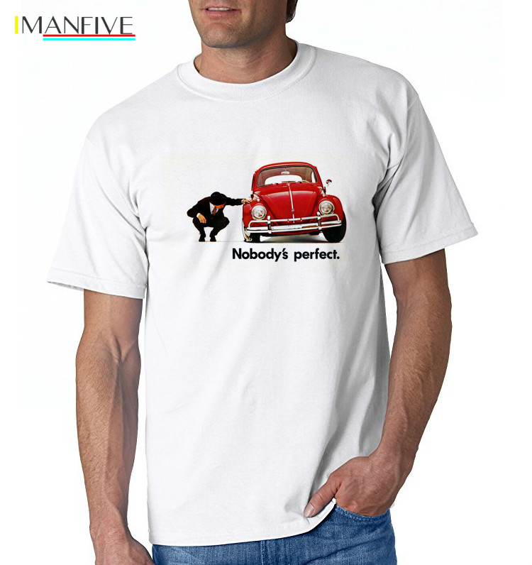 IMANFIVE new Beetle Men T Shirts 2019 Art Blue Tees for Men Fabric New Arrival Hipster car T Shirt