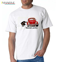 IMANFIVE new Beetle Men T Shirts 2019 Art Blue Tees for Fabric New Arrival Hipster car Shirt