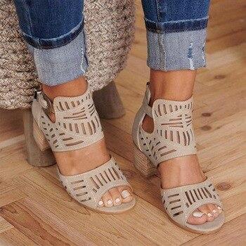 PUIMENTIUA sandalias de moda para Mujer, Sandalias de tacón cuadrado con agujeros y talón descubierto de estilo Vintage, Zapatos de tacón alto para Mujer