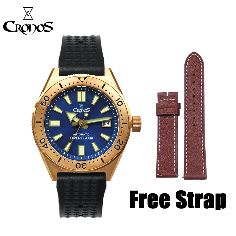 Lugyou Diver-Watch Rubber-Strap Mechanical Cusn8-Rotate Bronze NH35 Automatic Sapphire-Glass