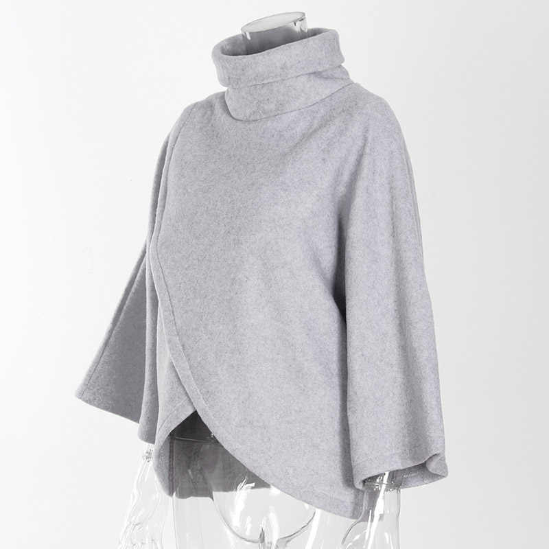 Новая женская накидка с рукавом летучая мышь зимний теплый свитер куртка верхняя