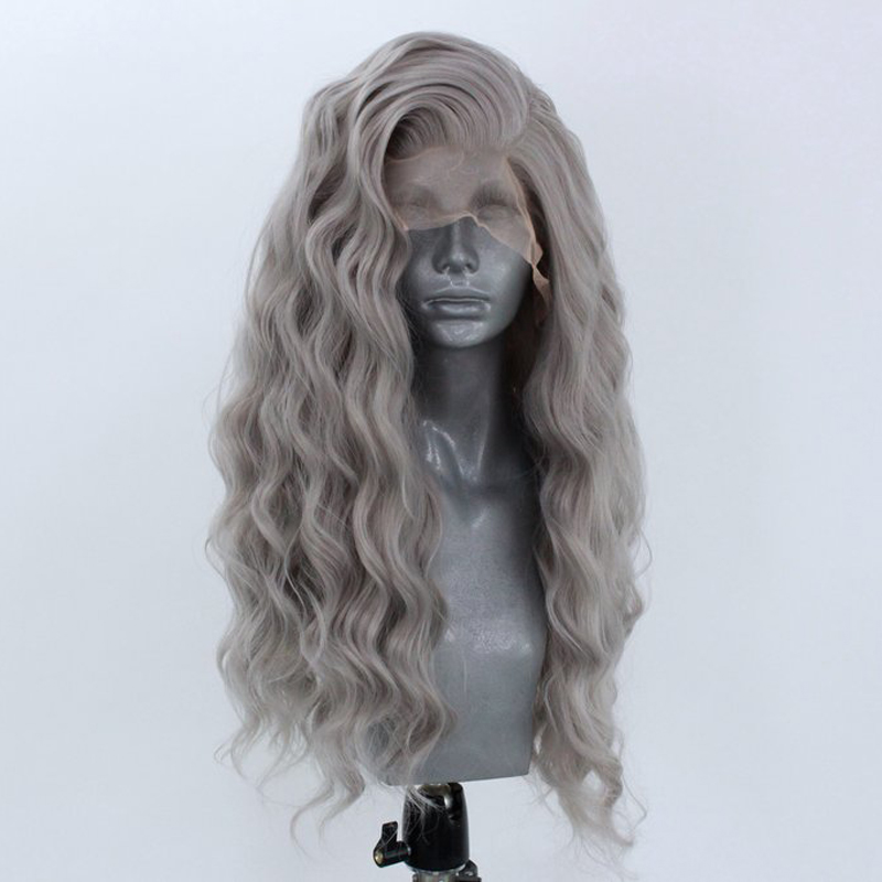 RONGDUOYI Long Wavy Synthetic Lace Front Wig Natural Hairline Glueless Heat Resistant Fiber Gray Hair 13x3 Lace Wigs For Women