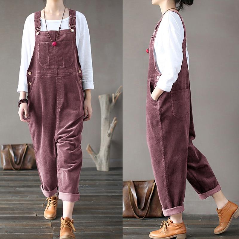 Oversize Women's Corduroy Jumpsuits Harem Pants Vintage Overalls 2019 Spring Rompers Button Pantalon Palazzo Female Playsuit 5XL