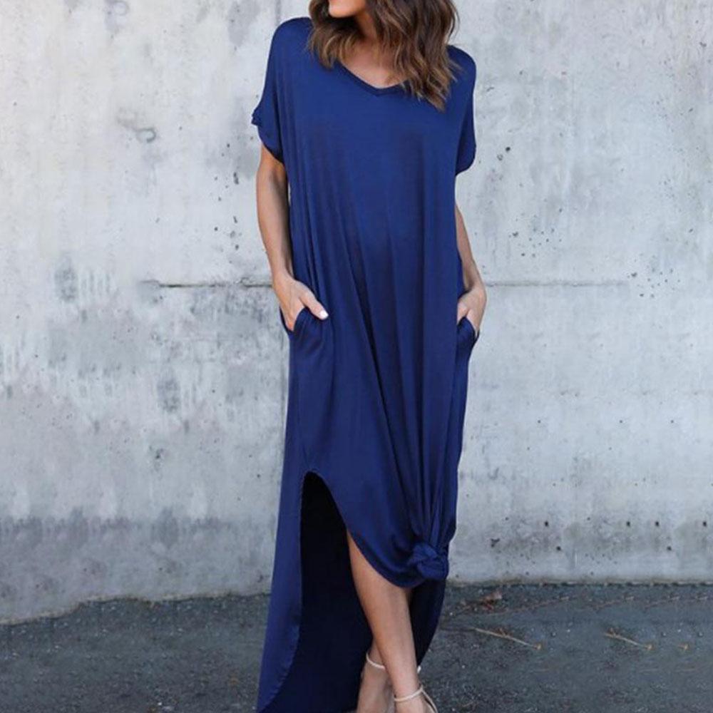 GRECERELLE Women's Casual Loose Pocket Long Dress Short Sleeve Split Maxi Dresses 4