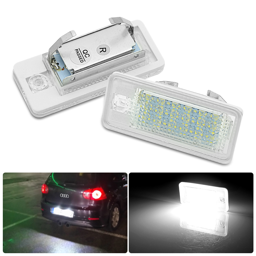 New 2Pcs Led Number Plate For Audi Number License Plate Light Lamp  For Audi A3/S3 S4 A4 B6 B7 RS4 A6 C6 RS6 A8 S8 Q7
