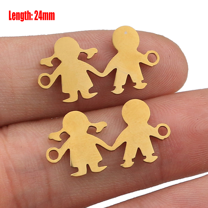 5pcs Family Chain Stainless Steel Pendant Necklace Parents and Children Necklaces Gold/steel Jewelry Gift for Mom Dad New Twice - Цвет: Gold 41