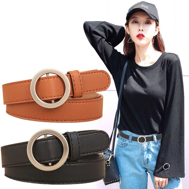 1pc Circle Pin Buckles Belt Female Deduction Side Gold Buckle Jeans Fashion Simple PU Wild Belts For Students Girls Women