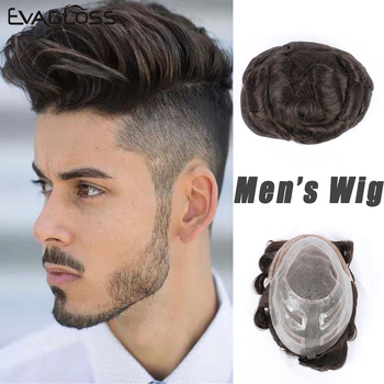 EVAGLOSS Mens Lace Wig French Lace Front Hair Replacement System Human Hair Toupee For Men Prosthetic Hair Male Wig