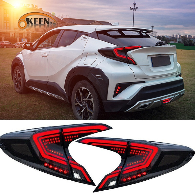 OKEEN 2x Car LED Tail Light For Toyota C-HR CHR 2017 2018 2019 Driving Braking Turn Signal Light Reverse Taillight Rear Fog Lamp