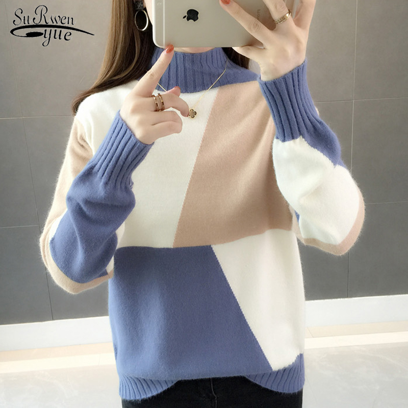 New 2019 Winter Knitted Women Sweaters Elegant Women Clothing Turtleneck Long Sleeve Women Tops Pull Femme Truien Dames 5771 90
