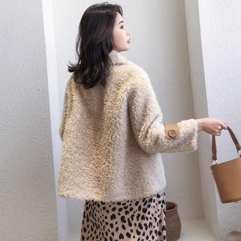 2019 秋と冬のファッション新子羊の毛皮髪 1 毛皮のコート女性ショートセクション 100% 羊のせん断粒子コートネット赤
